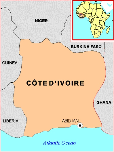 map of cote divoire
