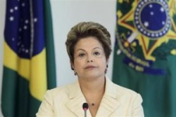 President Dilma Rousseff meets with representatives of Cry Of The Earth at the Planalto Palace in Brasilia
