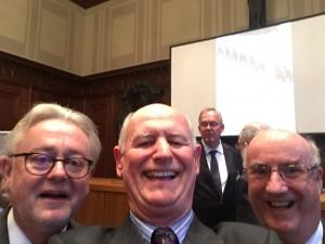 Steven Kay QC selfie with Professor Schabas and Professor Garroway in the famous Court 600 Nuremberg